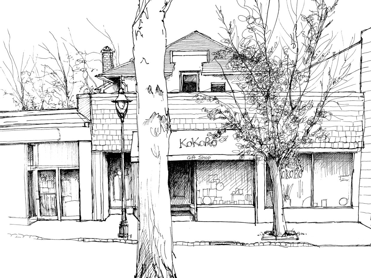 Drawing of Kokoro's in downtown Maplewood, NJ